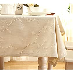 """Tina Cotton Linen Tablecloth Leaf Embroidered Table Cover for Dinner Kitchen Beige, 60""""x90"""""""