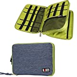 BUBM Large Double Layer Electronics Accessories Case Travel Gear Organizer Phone Charger Cable Storage Bag (Blue&Green)