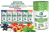 Pristine Leaf Organic Matcha Green Tea Powder - Flavored Variety Pack - 18 Single Serve Packets To Go Sticks, Strawberry, Mango, Blueberry, Peach, Vanilla, Ceremonial - SugarFree Calorie Free Vegan