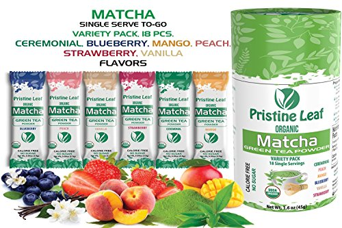 Pristine Leaf Organic Matcha Green Tea Powder - Flavored Variety Pack - 18 Single Serve Packets To Go Sticks, Strawberry, Mango, Blueberry, Peach, Vanilla, Ceremonial - SugarFree Calorie Free Vegan by Pristine Leaf