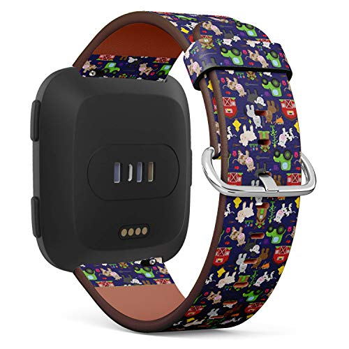 Compatible with Fitbit Versa Leather Watch Wrist Band Strap Bracelet with Quick-Release Pins (Tileable Farm Animal Barnyard)