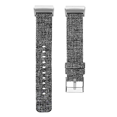Price comparison product image Watch Band For Fitbit Charge 3,  H+K+L Replacement Woven Canvas Fabric Watch Band Wrist Strap,  Large / Small,  5 Colors Available (L,  Gray)