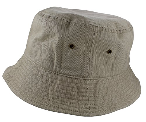 (Gelante 100% Cotton Packable Fishing Hunting Sunmmer Travel Bucket Cap Hat 1900-Khaki-L/XL)