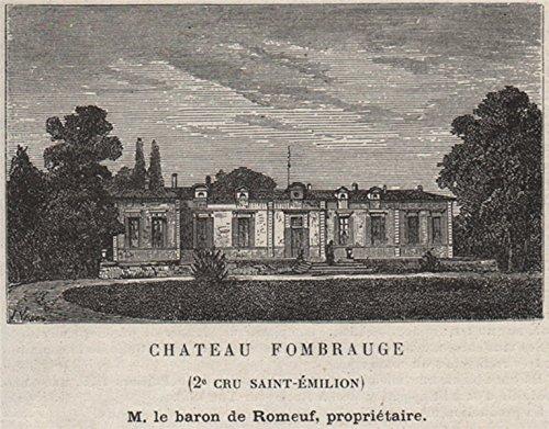 - SAINT-CHRISTOPHE-DES-BARDES. Chateau Fombrauge (2e Cru St-Émilion). SMALL - 1908 - old print - antique print - vintage print - Gironde art prints