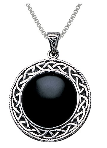 Jewelry Trends Sterling Silver Celtic Knot Round Pendant Necklace 18