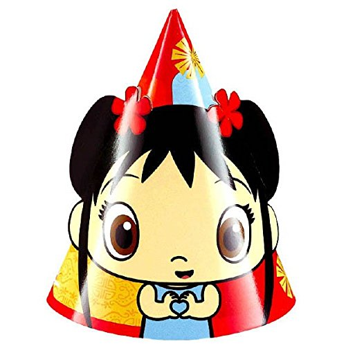 Amscan Adorable Ni Hao Kai Lan Paper Cone Party Hats (8 Piece), Red, 6 x 4""