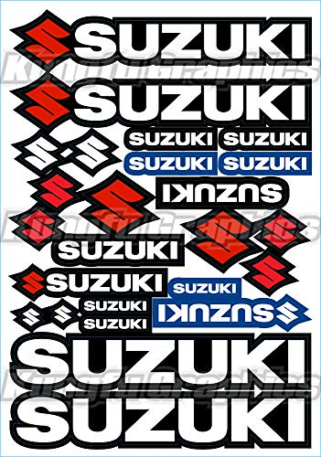 Kungfu Graphics Suzuki Sponsor Logo Racing Sticker Sheet Universal (7.2 x 10.2 inch), White Black ()