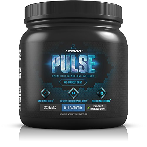 (Legion Pulse Pre Workout Supplement - All Natural Nitric Oxide Preworkout Drink to Boost Energy & Endurance. Creatine Free, Naturally Sweetened & Flavored, Safe & Healthy. Blue Raspberry, 21 Servings.)