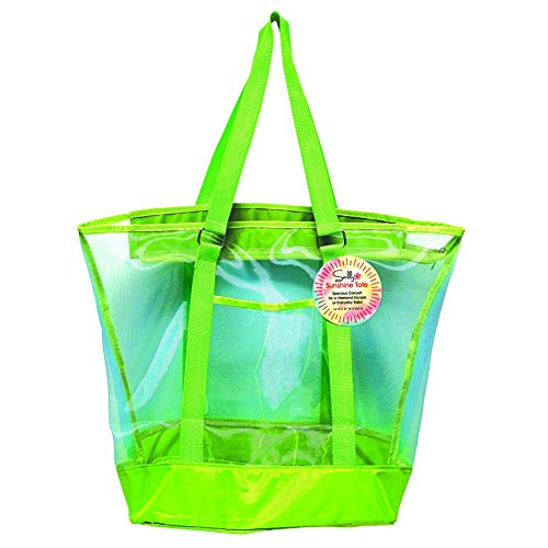 sunlily-sunshine-two-tone-color-large-mesh-tote-21-inches-wide-with-zipper-lime-green-with-turquoise