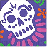 Beistle Lilac Purple Day Of The Dead 2-Ply Skull Party Luncheon Napkins 12.88'' by 12.88'' (pack of 16)