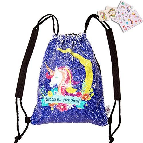 Water Resistant Unicorn Reversible Sequin Drawstring Girls Drawstring Backpack - Beach Bag - Kids daypack - Unicorn Bag - Dance Bag -
