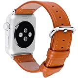 Apple Watch Bands, Fullmosa Yona Series Genuine Calf Leather Replacement Band/Strap with Stainless Steel Clasp for Apple iWatch Series 1 & 2 Sport and Edition Versions 2015 2016, Light Brown,42mm