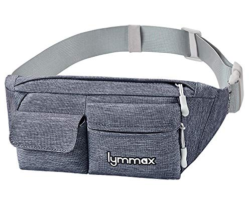 Lymmax Fanny Pack Slim Waist Bag Pack Waterproof Bum Bag Running Belt for Men Women Traveling Cycling Hiking Camping Running Dog Walking, Large Capacity by Lymmax
