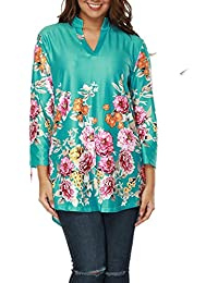 Womens 3/4 Roll Sleeve Split V Neck Plus Size Business Casual Henley Blouse