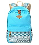 KISS GOLD(TM) Canvas Backpack Shoulder Bag Laptop Bag Super Cute Schoolbag for Women Teen Young Girls(Light Blue)