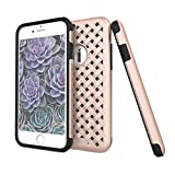 """iPhone 7 Plus Case, Piaf Rose Gold paid pattern double protection dual layer shock proof Unique intertwine Pink -""""Intrigue series"""""""