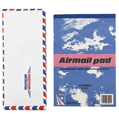 JAM Paper Airmail Stationery Set - Small - 22 Onion Skin Paper Sheets (6' x 9') & 25 Envelopes (4 1/8' x 9 1/2 ')
