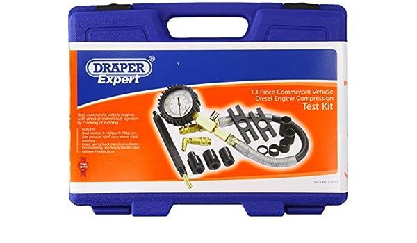 13 piezas Kit de prueba de compresi/ón para veh/ículo comercial con motor di/ésel Draper 43053