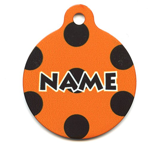 Yellow Dog Design Halloween Polka Dot Personalized Hi Def Pet ID Tag with Silencer, Small 1
