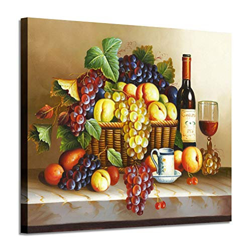 Vintage Wall Art Wine Pictures : Red Wine & Fruit Artwork Oil Painting on Canvas for Dining Room