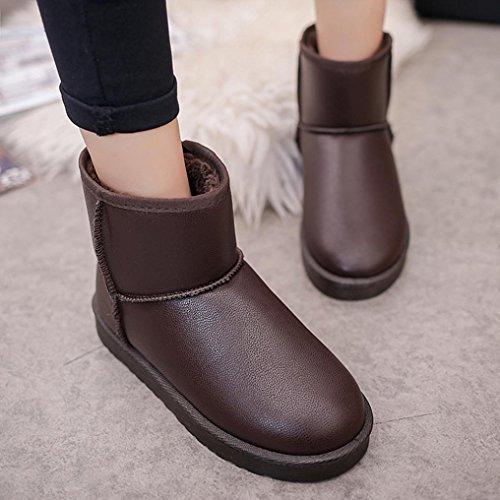 Gillberry Femmes Botte Plate Cheville Doublée Hiver Chaud Neige Chaussures Coton Chaussures Marron