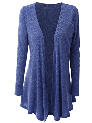 JayJay Women Open Front Casual Knit Long Sleeve Sweater Classic Cover Up Cardigan,Blue,L - Lace Ribbed Sweater
