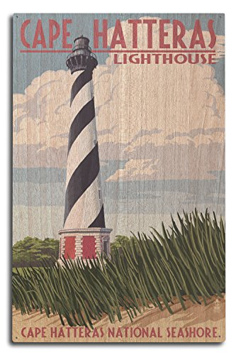 Lantern Press Outer Banks, North Carolina - Cape Hatteras Lighthouse (10x15 Wood Wall Sign, Wall Decor Ready to Hang)
