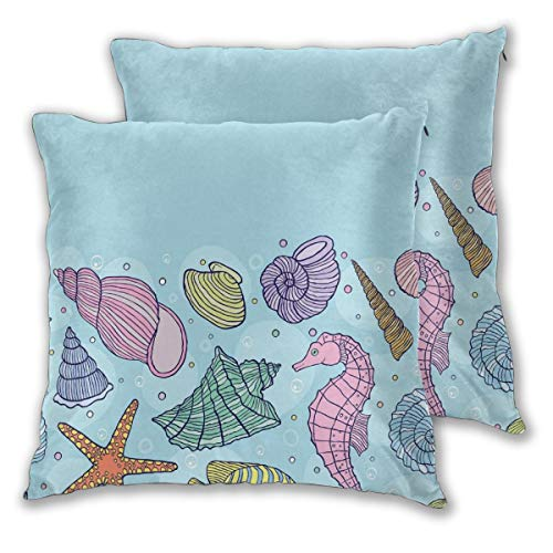 lsrIYzy Decorations Throw Pillow Cushion Cover Set of 2,Underwater World Nursery Theme Cute Seashell Seahorse Starfish and Fish Pattern,Square Accent Pillow Case 16x16 inches