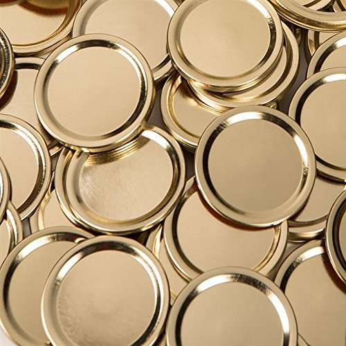 Generic (made by Ball) WIDE GOLD Mouth Size Mason Jar Canning Lids, 48 lids, (4 dozen), (Lids Only, No Bands/Rings), Plain Label, No Name Brand on Lids, No Advertising on -