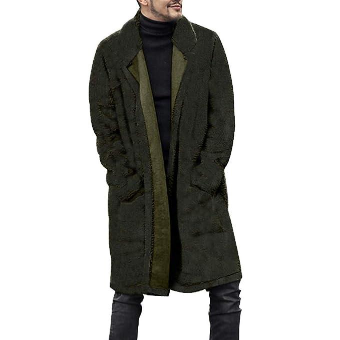 CLOOM Giacche Uomo Top Inverno Giacca Uomo Casual Cappotto Outwear Giacche  Jacket Moda Maschi Caldo Cardigan in Peluche Lungo Peloso Cappotto a Doppia  ... 62b41c5725e