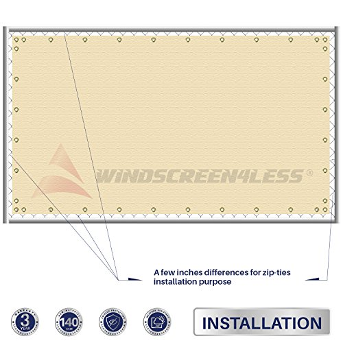 8' x 55' Privacy Fence Screen in Beige Tan with Brass Grommet 85% Blockage Windscreen Outdoor Mesh Fencing Cover Netting Fabric - Custom Size Available by Windscreen4less (Image #3)