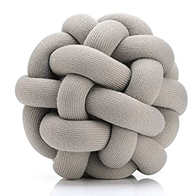 Decorative Knot Pillow - Unique Accent Couch Throw Pillow (Grey) - Cotton/Acrylic Woven Knot Pillow 100% Polyester Filling Fun and Unique Accent Pillow - living-room-soft-furnishings, living-room, decorative-pillows - 51A6BY4ql8L. SS400  -