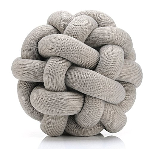Decorative Knot Pillow - Unique Accent Couch Throw Pillow (Grey) -