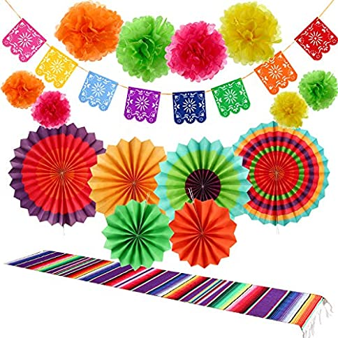 - 51A6BZgo3FL - 16 Pieces Fiesta Party Decorations Kit, 1 Mexican Serape Table Runner, 6 Fiesta Colorful Paper Fans Round Wheel Disc, 8 Pom Poms Flowers, 1 Felt Papel Picado Banner for Cinco De Mayo