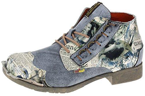 TMA Damen Stiefeletten Boots Leder Schuhe 5330 Schwarz(schattiert)