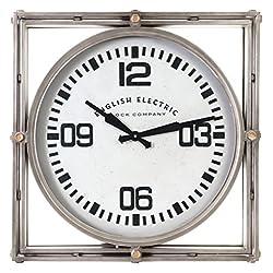 Kiera Grace HO60210-7 Geoffrey Metal Wall Clock-23-Inch, Decorative, Industrial, Large, Dark Grey