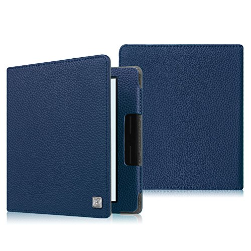 Merlot Leather Folio (Fintie Folio Case for Kindle Oasis (8th Generation, 2016 Released ONLY) - The Book Style Premium Vegan Leather Cover with Auto Sleep/Wake Feature for Amazon 6-Inch Kindle Oasis E-reader, Navy Blue)