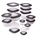 Rubbermaid 071691490951 Premier Food Storage Containers, 30-Piece Set, Gray, Transparent