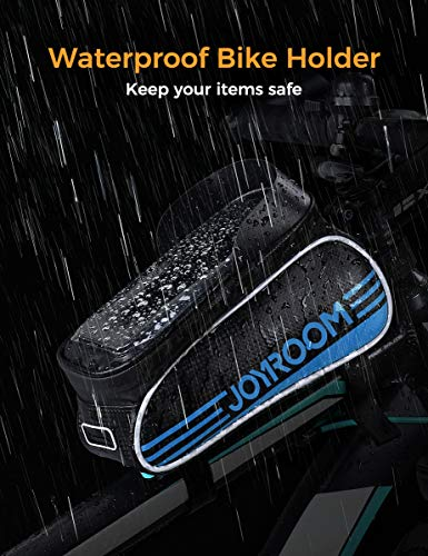 joyroom Bike Phone Mount Bag-Waterproof Bike Front Frame Handlebar Bag Bike Phone Holder Case Bicycle Accessories Pouch Sensitive Touch Screen Compatible with iPhone 11 XS Max XR 8 Plus Below 6.7\