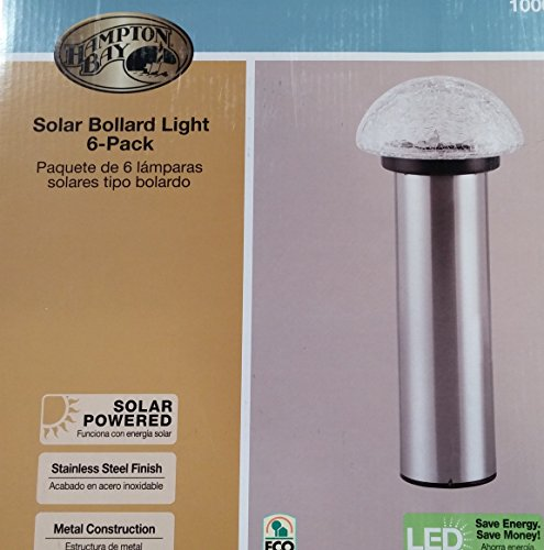 (Hampton Bay Solar Bollard Light 6-Pack Stainless Steel Finish and Crackle Glass)