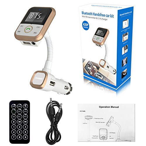 Bluetooth Car Kit, OWIKAR BT67 V4.0 LCD Display Wireless FM Transmitter Modulator Radio Adapter In-car Music Control MP3 Player USB Charger Handsfree Calling With Remote Control - Hands Free Wireless Battery Charger