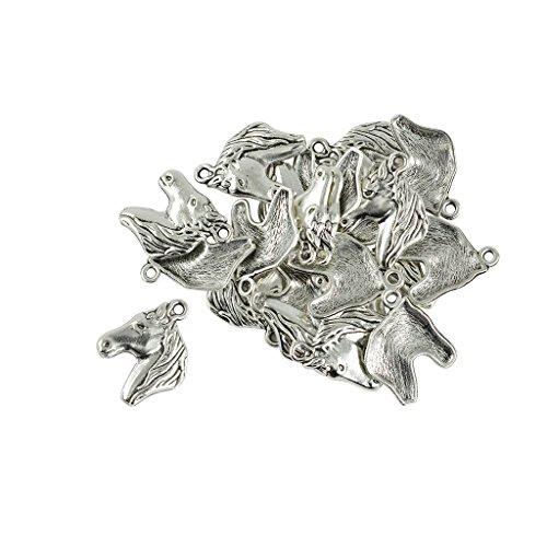 - MonkeyJack 20 Pieces Vintage Horse Head Equestrian Western Charms fit Bracelet Earring Pendant Necklace Earrings Dangle - Tibetan Silver