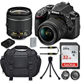 Nikon D3400 24.2MP DSLR Camera with Nikon AF-P DX 18-55mm f/3.5-5.6G VR Lens + 32GB High Speed Memory Card + Camera Carrying Bag + Tripod (Certified Refurbished)