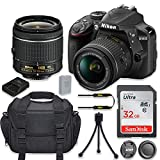 Nikon D3400 24.2MP DSLR Camera with Nikon AF-P DX 18-55mm f/3.5-5.6G VR Lens + 32GB High Speed Memory Card + Camera Carrying Bag + Tripod (Renewed)