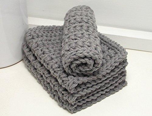 Handmade Grey 4 Inch x 7 Inch Rectangular Crochet Cotton Dishcloths (Set of 4)