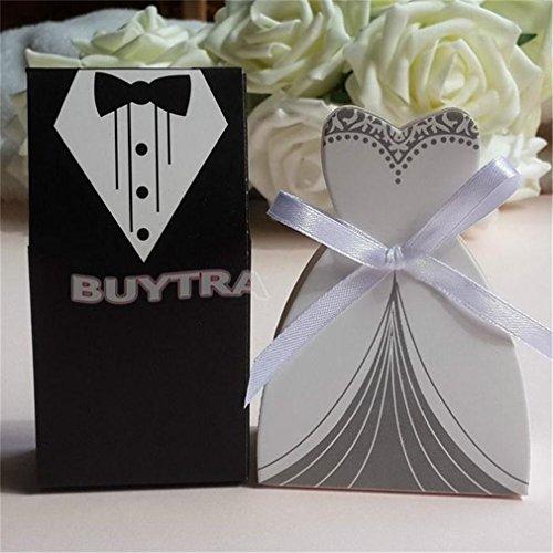 - 100Pcs Wedding Decoration Mariage Bridal Gift Cases Groom Tuxedo Dress Gown Ribbon Wedding Favors Candy Box Sugar Case