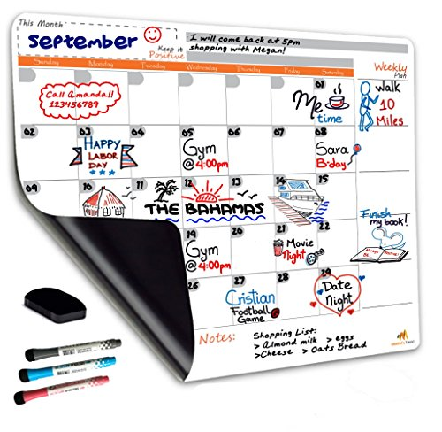 Magnetic Dry Erase Calendar Board for Fridge