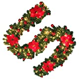 Hootech 9 Feet Christmas Garland with Lights and Balls Artificial Pine Wreath Garland Battery Powered Xmas Decorations for Wall Door Stair (1pc, Red)
