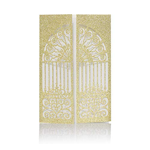 - Laser Cut Printable Wedding Invitation kits - 25pcs 4.7'' x 7'' Glitter Gold Open Door invitations Cards with Printable Paper and Envelopes for Engagement Wedding Marriage Birthday Bridal Bride Shower