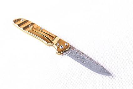 CHENPK01539 Chapa de acero titanio chapada en oro Cuchillo ...